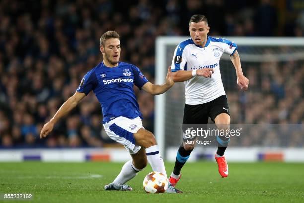 Esteban Sachetti of Apollon Limassol closes down Nikola Vlasic of Everton during the UEFA Europa League group E match between Everton FC and Apollon...