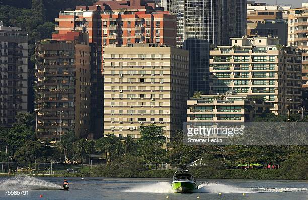Esteban Siegert of Colombia competes in the men's wakeboard preliminary during the XV Pan American Games at the Caicaras Club on July 21 2007 in Rio...