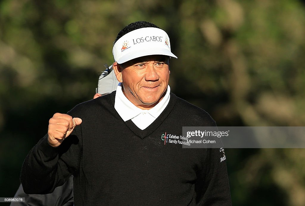 Esteban Toledo of Mexico celebrates winning a three-hole sudden death playoff after the final round of the Allianz Championship held at The Old Course at Broken Sound on February 7, 2016 in Boca Raton, Florida.