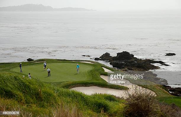 Esteban Toledo of Mexico putts on the seventh hole during the final round of the Nature Valley First Tee Open at the Pebble Beach Golf Links on...