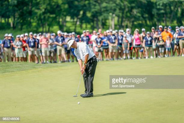 Esteban Toledo putts on eighteen during the final round of the American Family Insurance Championship Champions Tour golf tournament on June 24 2018...