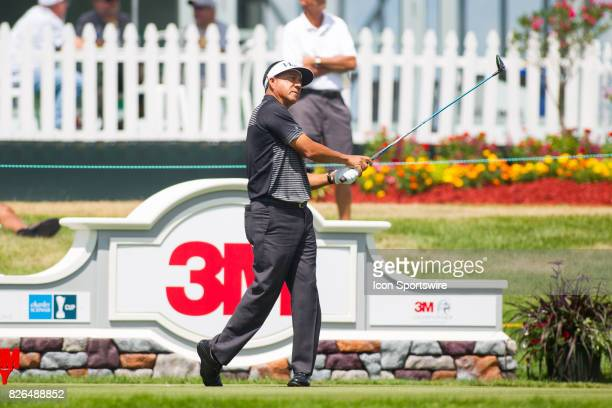 Esteban Toledo reacts after his tee shot on the 14th hole during the First Round of the 3M Championship at TPC Twin Cities on August 4 2017 in Blaine...