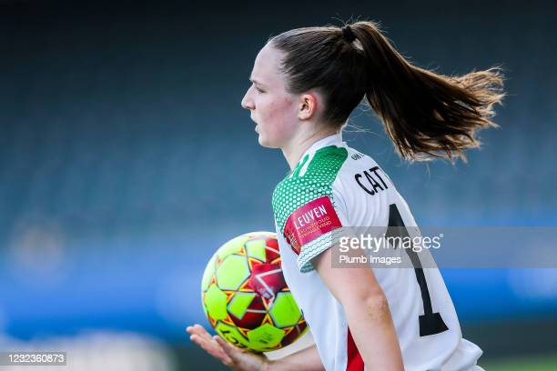 Estee Cattoor of OH Leuven women in action during the Scooore Super League play-off match between OH Leuven women and RSC Anderlecht women at the...