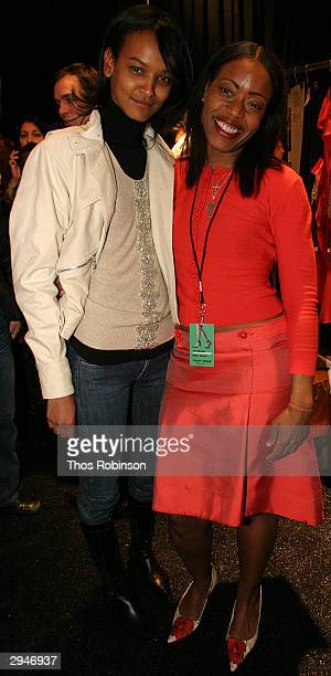 Estee Lauder Model Liya Kebede and designer Tracy Reese pose during Olympus Fashion Week at Bryant Park February 8 2004 in New York City