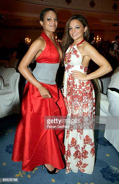Estefania Kuester and actress Milka Loff Fernandes are dancing during the Unesco Benefit Gala For Children 2008 at Hotel Maritim on November 01 2008...