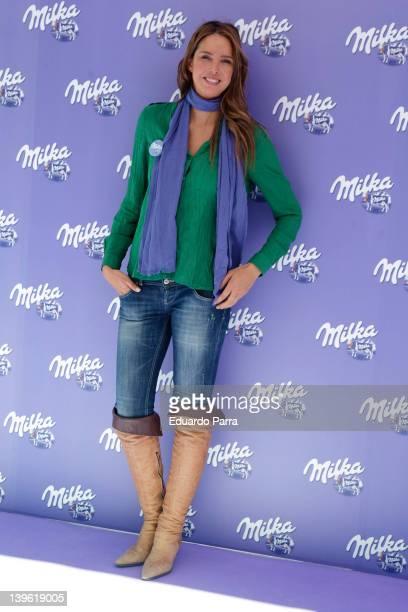 Estefania Luik attends Milka event photocall at Felipe II circus on February 23 2012 in Madrid Spain
