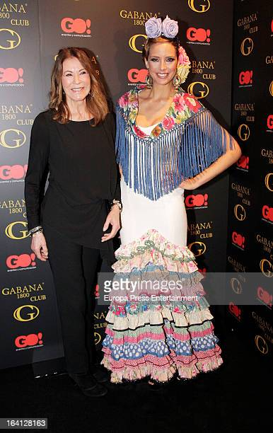 Estefania Luyk and Paquita Torres pose wearing flamenco dress during Flamenco Fashion Show on March 19 2013 in Madrid Spain