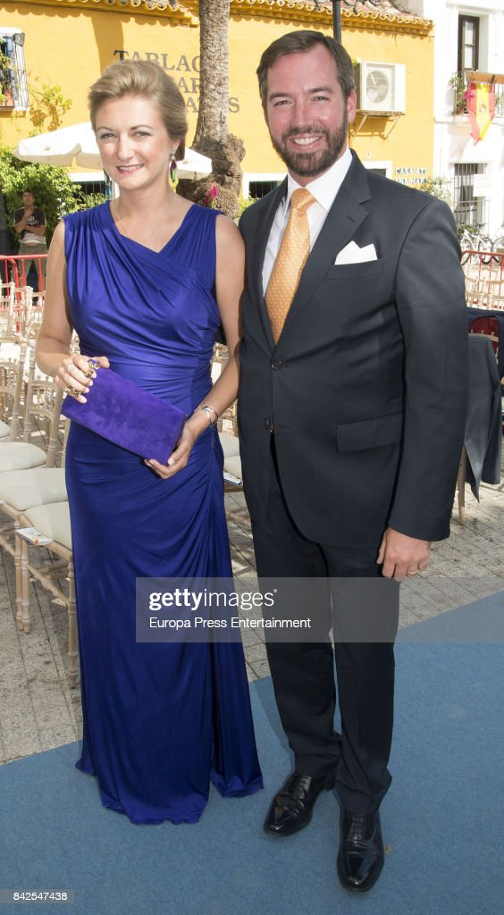 Estefania of Lannoy and Guillermo of Luxemburgo are seen attending the wedding of Marie-Gabrielle of Nassau and Antonius Willms on September 2, 2017 in Marbella, Spain.