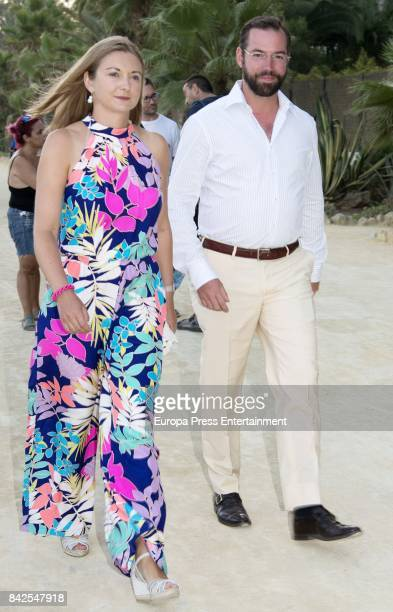 Estefania of Lannoy and Guillermo of Luxemburgo from The Grand Ducal Family of Luxembourg are seen having dinner the day before the wedding of...