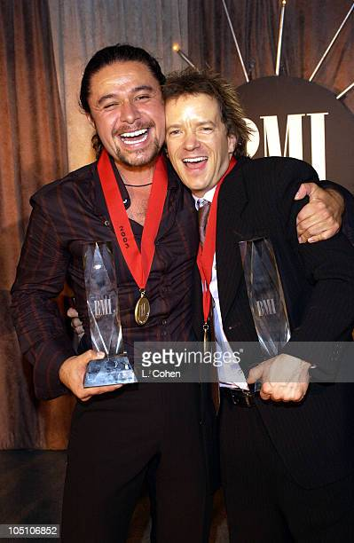 Estefano celebrates his second consecutive win as BMI Songwriter of the Year with Tim Mitchell cowriter of Song of the Year 'Suerte' at BMI's 10th...
