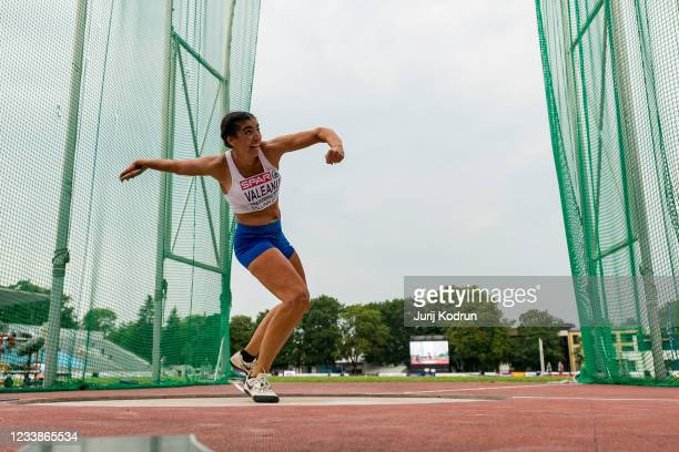 Estel Valeanu of Israel competes in the discus throw during day one of the European Athletics U23 Championships at Kadriorg Stadium on July 8, 2021...