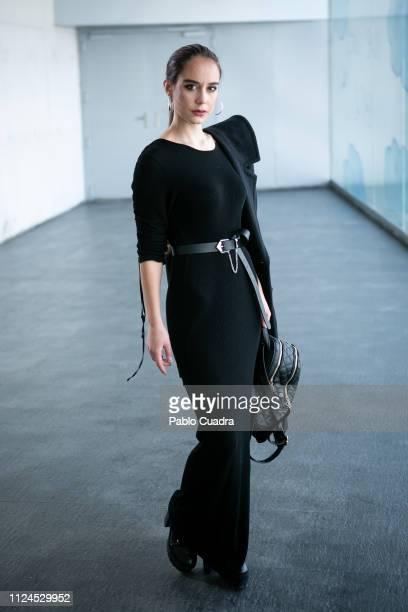 Estela Fernandez wears El Corte Ingles coat and Primark belt during the Mercedes Benz Fashion Week Madrid Autumn/Winter 201920 at Ifema on January 24...