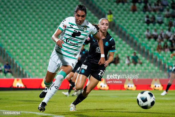Estela Gomez of Santos fights for the ball with Angelica Torres of Chivas during a match between Santos and Chivas as part of the Torneo Grita Mexico...