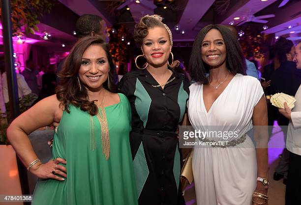 Estela Lopez Spears singer Andra Day and actress Margaret Avery attend the 2015 BET Awards Debra Lee PreDinner at Sunset Tower Hotel on June 24 2015...