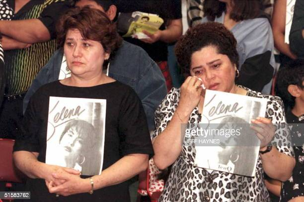 Estella Leak wipes away tears during a memorial tribute for the slain Grammywinning pop star Selena 02 April at the Los Angeles Sports Arena Tejano...