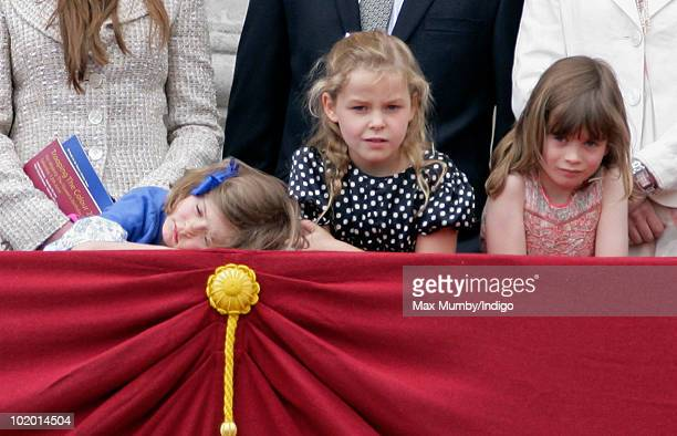 Estella Taylor Margarita ArmstrongJones and Eloise Taylor stand on the balcony of Buckingham Palace during the annual Trooping the Colour ceremony on...