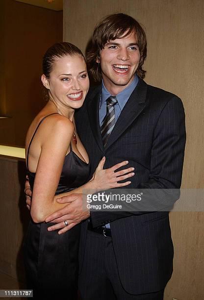 Estella Warren Ashton Kutcher during Hollywood Film Festival's Hollywood Movie Awards Arrivals Backstage at Beverly Hilton Hotel in Beverly Hills...