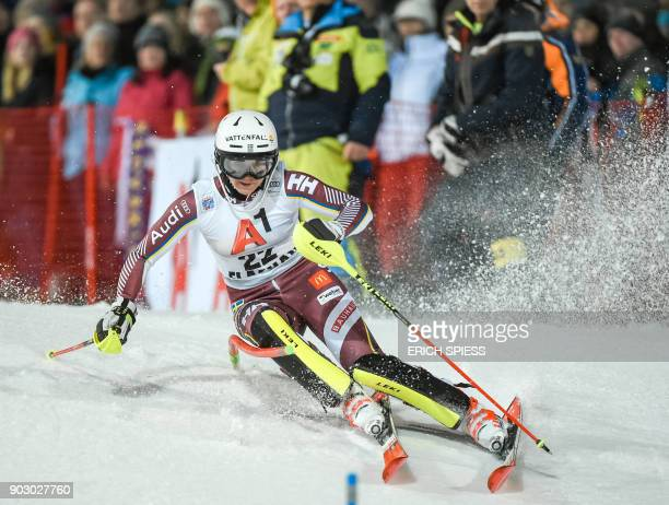 Estelle Alphand of Sweden competes during first run of the FIS World Cup Ladies night Slalom race in FlachauAustria on January 9 2018 / AFP PHOTO /...