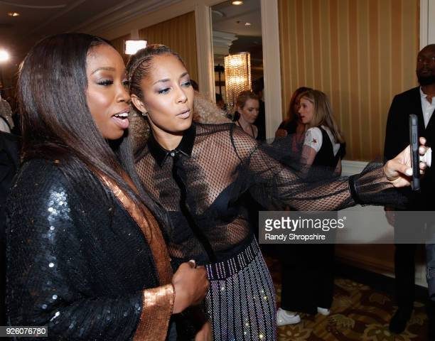 Estelle and Amanda Seales attend the 2018 Essence Black Women In Hollywood Oscars Luncheon at Regent Beverly Wilshire Hotel on March 1 2018 in...