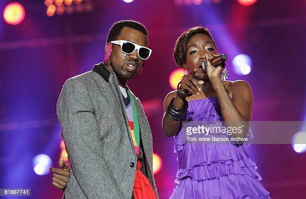 Estelle and Kanye West perform at the France 2 Television's 'Fete de la Musique' at the Auteuil Horse track on June 21 2008 in Paris France
