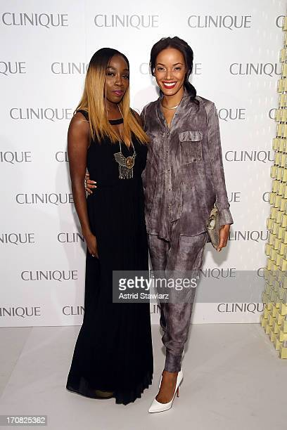 Estelle and Selita Ebanks attend Dramatically Different Party Hosted By Clinique at 620 Loft Garden on June 18 2013 in New York City