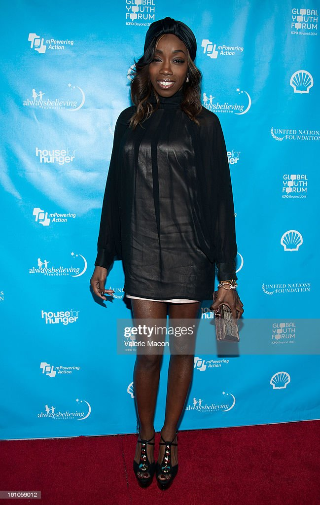 Estelle arrives at the mPowering ActionPre-GRAMMY Launch Event at The Conga Room at L.A. Live on February 8, 2013 in Los Angeles, California.