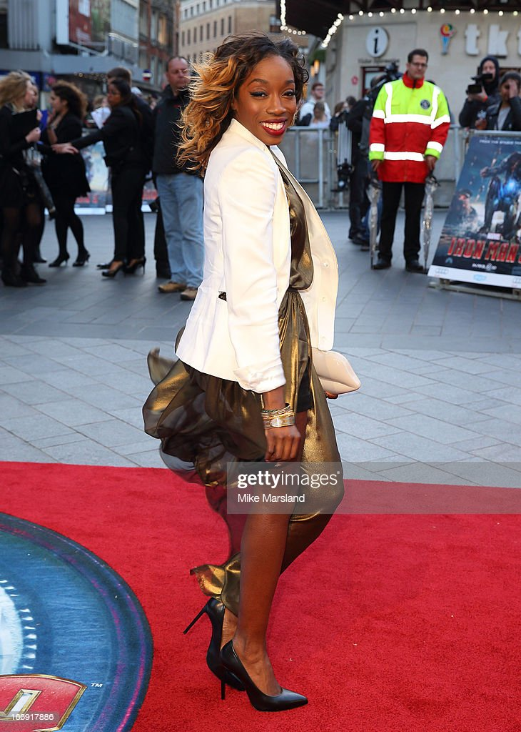 Estelle attends a special screening of 'Iron Man 3' at Odeon Leicester Square on April 18, 2013 in London, England.