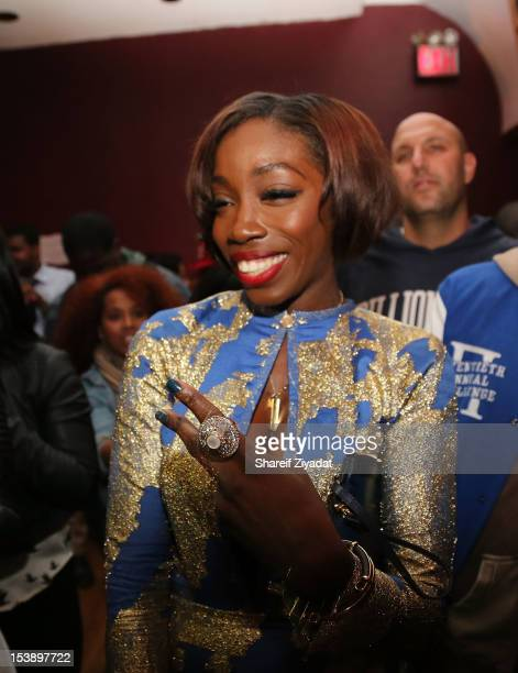 """Estelle attends the album listening party of Meek Mill's """"Dreams and Nightmare"""" at Electric Lady Studio on October 10, 2012 in New York City."""