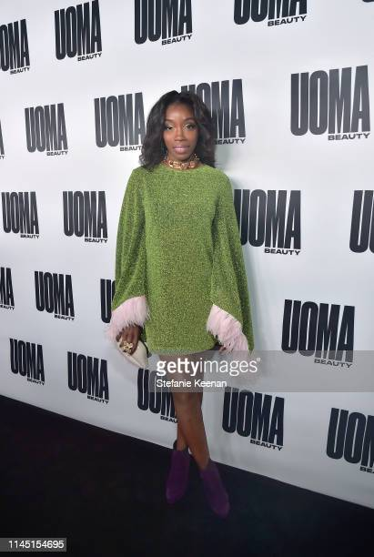 Estelle attends UOMA Beauty Launch Event at NeueHouse Hollywood on April 25 2019 in Los Angeles California