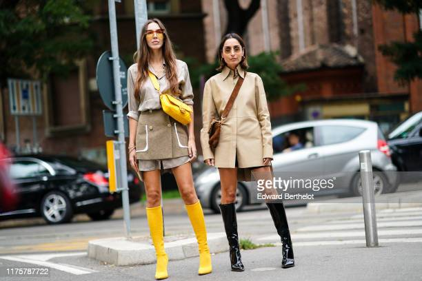 Estelle Chemouny and Geraldine Boublil are seen outside the Fendi show during Milan Fashion Week Spring/Summer 2020 on September 19 2019 in Milan...