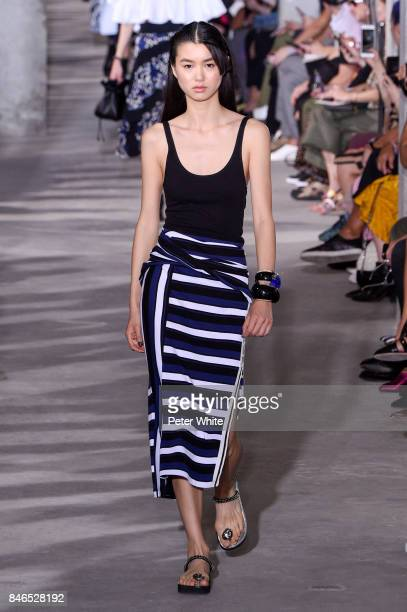Estelle Chen walks the runway at the 31 Phillip Lim Ready to Wear Spring/Summer 2018 fashion show during New York Fashion Week on September 11 2017...