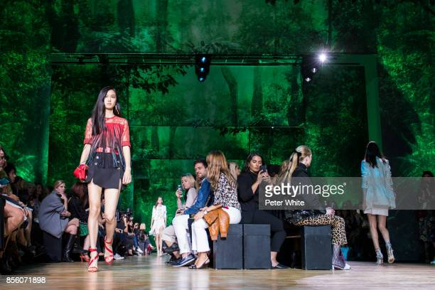 Estelle Chen walks the runway during the Elie Saab show as part of the Paris Fashion Week Womenswear Spring/Summer 2018 on September 30 2017 in Paris...