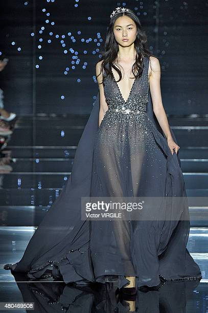 Estelle Chen walks the runway during the Zuhair Murad show as part of Paris Fashion Week Haute Couture Fall/Winter 2015/2016 on July 9 2015 in Paris...