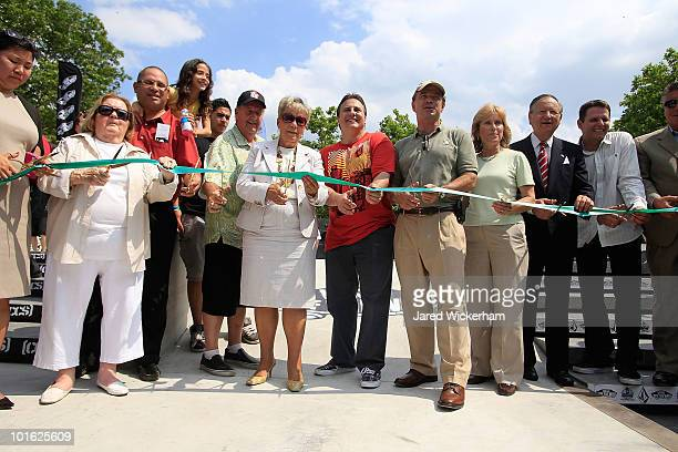 Estelle Cooper, Dorothy Lewandowski, Steve Van Doren, George Maloof, Adrian Benepe, Helen Marshall, and Joe Maloof attend the Maloof Money Cup ribbon...