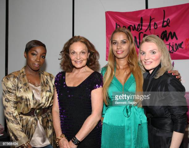 Estelle Diane Von Furstenberg Panmela CastroAnarkia and Alyse Nelson attend the 'Proud To Be Woman' CD launch benefit at DVF Studio on March 8 2010...