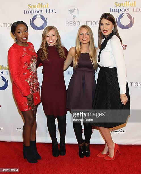 Estelle Jane Torpie Siobhan Hoffman and Gabriela Isler attend The Resolution Project's Resolve 2015 Gala at The Harvard Club on October 15 2015 in...