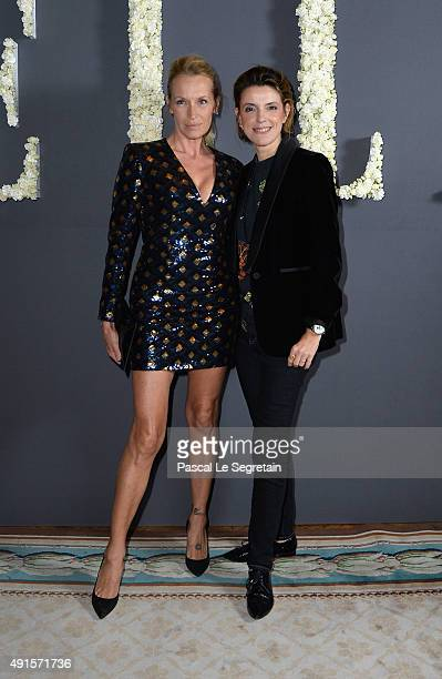 Estelle Lefebure and FrancoiseMarie Santucci attend a cocktail party hosted by the US Ambassador to France and Monaco to celebrate ELLE US's 30th...