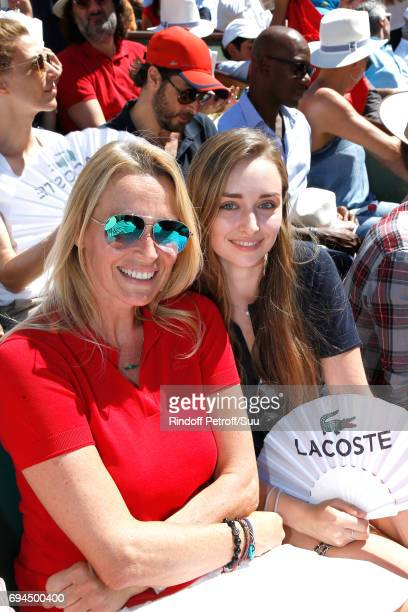 Estelle Lefebure and her daughter Emma Hallyday attend the Women Final of the 2017 French Tennis Open - Day Fourteen at Roland Garros on June 10,...