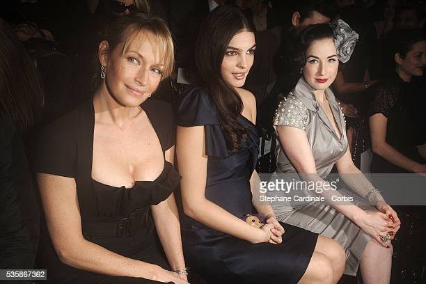 Estelle Lefebure Bojana Panic and Dita Von Teese attend the Christian Dior Haute Couture Spring/Summer 2009 Collection fashion show at Paris Fashion...