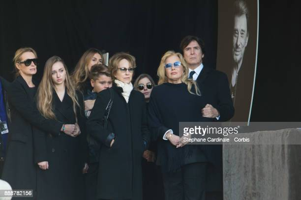 Estelle Lefebure his daughter Ilona Smet Nathalie Baye Sylvie Vartan and Tony Scotti during Johnny Hallyday's Funeral Procession at Eglise De La...