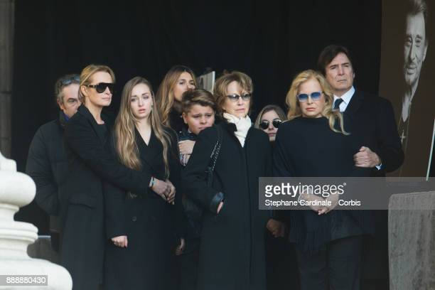 Estelle Lefebure his daughter Ilona Smet Nathalie Baye Sylvie Vartan and Tony Scotti during Johnny Hallyday's Funeral at Eglise De La Madeleine on...