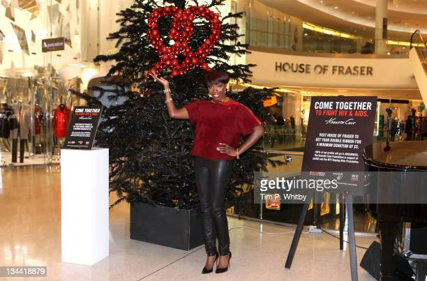 Estelle makes a special appearance to support World AIDS Day at the Kenneth Cole Christmas tree at House of Fraser Westfield London on December 1...