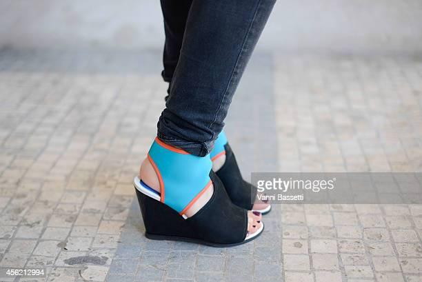 Estelle Michaelidis poses wearing Kenzo shoes on September 27 2014 in Paris France