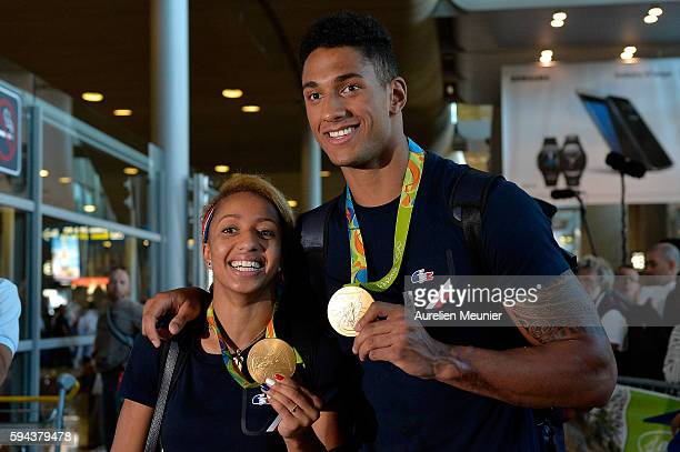 Estelle Mossely light 60kg boxing Gold medalist and Tony Yoka super heavy over 91kg gold medalist arrive at Roissy Charles de Gaulle airport after...