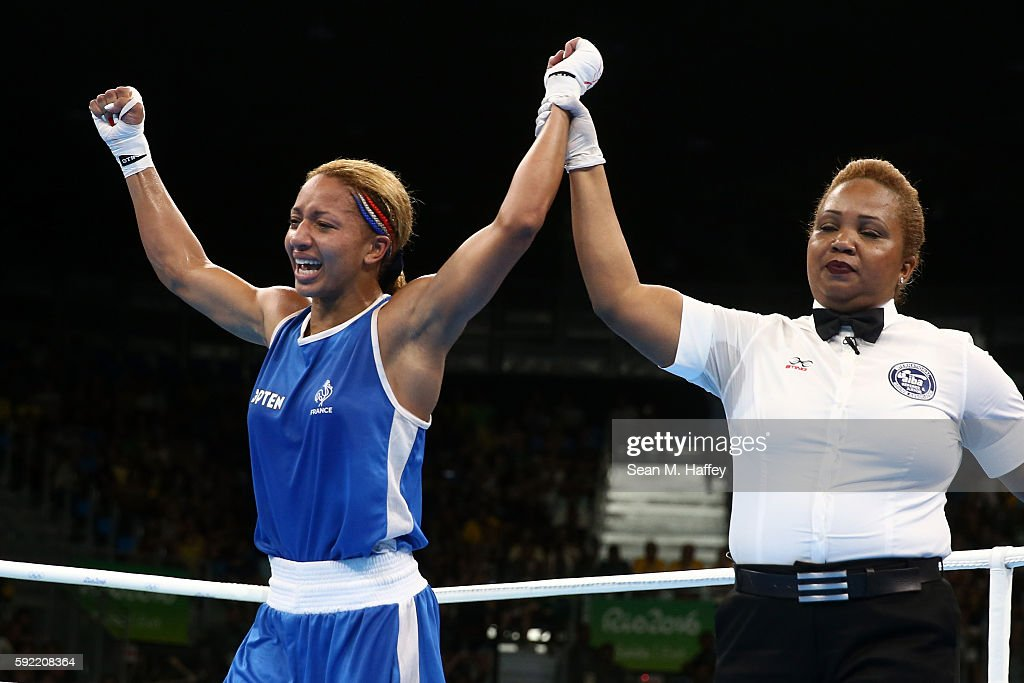 Estelle Mossely of France reacts after defeating Junhua Yin of China in the Women's Light Final Bout on Day 14 of the Rio 2016 Olympic Games at the Riocentro arena on August 19, 2016 in Rio de Janeiro, Brazil.