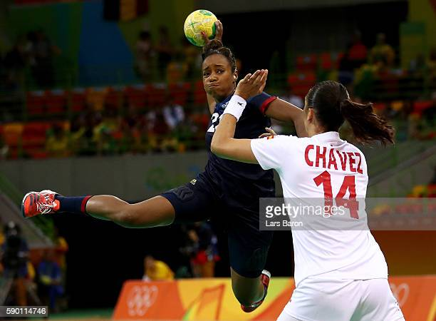 Estelle Nze-Minko of France is challenged by Elizabet Hernandez Chavez of Spain during the Womens Quarterfinal match between Spain and France on Day...