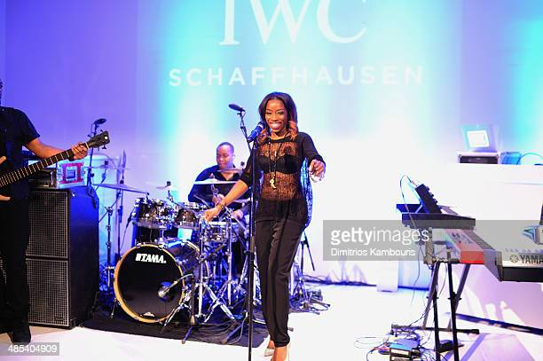 Estelle perfoms onstage at the 'For the Love of Cinema' dinner hosted by IWC Schaffhausen and Tribeca Film Festival at Urban Zen on April 17 2014 in...