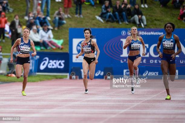 Estelle Perrossier of France Konomi Takeishi of Japan Kateryna Klymiuk of Ukraine competes in 400m during the DecaNation 2017 on September 9 2017 in...
