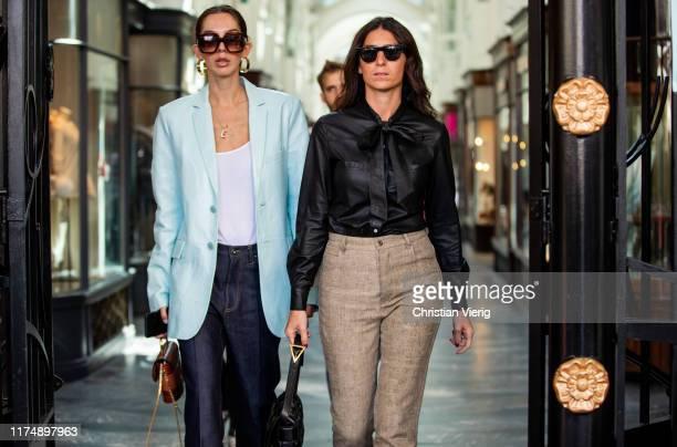 Estelle Pigault and Deborah Reyner Sebag seen outside Roland Mouret during London Fashion Week September 2019 on September 15, 2019 in London,...