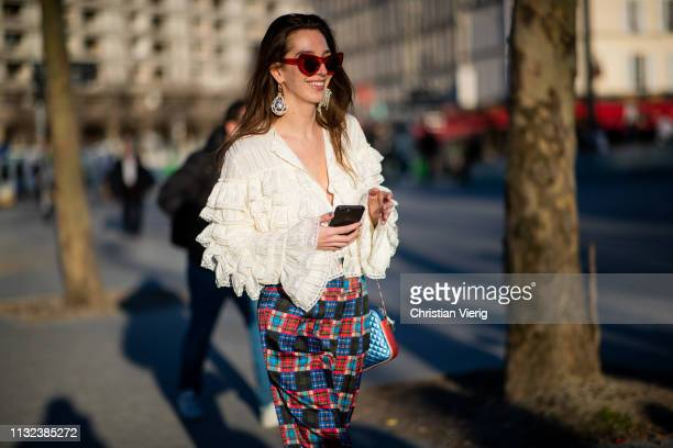 Estelle Pigault is seen outside Koché during Paris Fashion Week Womenswear Fall/Winter 2019/2020 on February 26, 2019 in Paris, France.